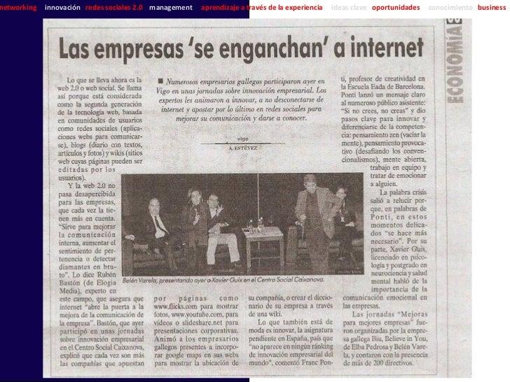 networking   innovación redes sociales 2.0 management   aprendizaje a través de la experiencia   ideas clave oportunidades...