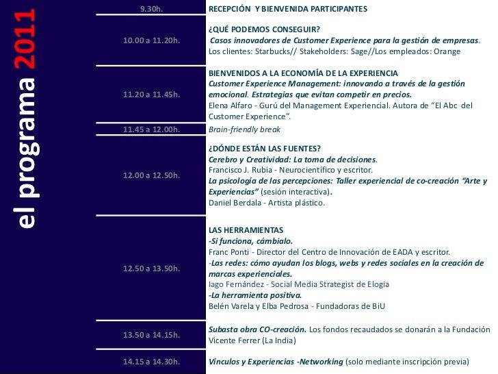 9.30h.        RECEPCIÓN Y BIENVENIDA PARTICIPANTESel programa 2011   10.00 a 11.20h.                                     ¿...