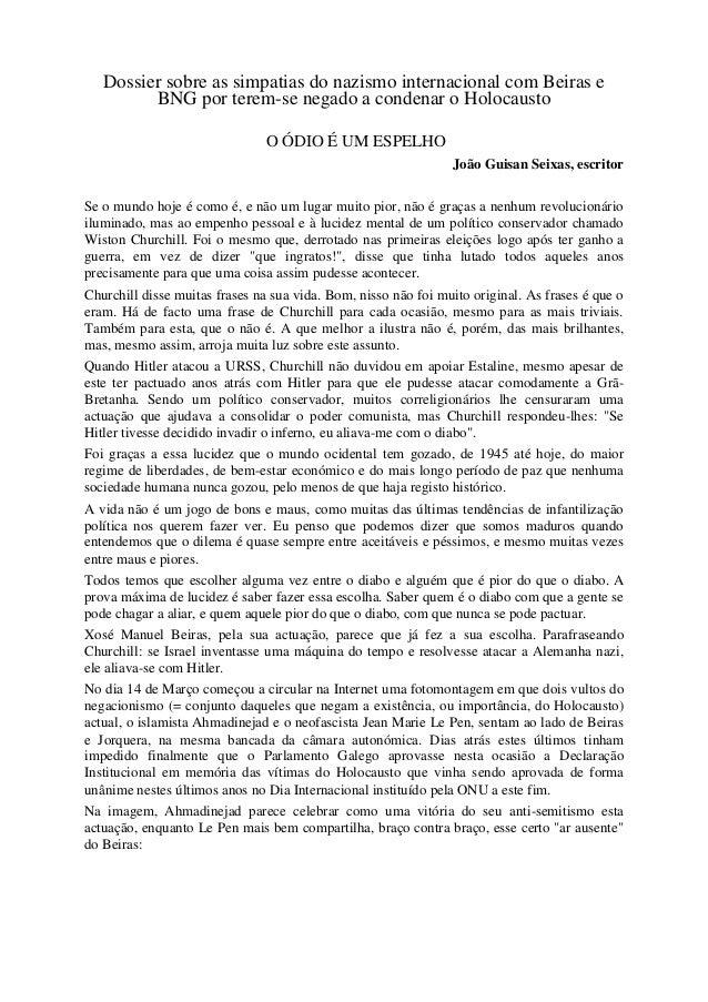 Dossier sobre as simpatias do nazismo internacional com Beiras e         BNG por terem-se negado a condenar o Holocausto  ...