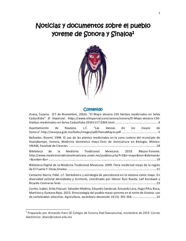 """1 Noticias y documentos sobre el pueblo yoreme de Sonora y Sinaloa1 Contenido Arana, Susana. (17 de Noviembre, 2014). """"El ..."""