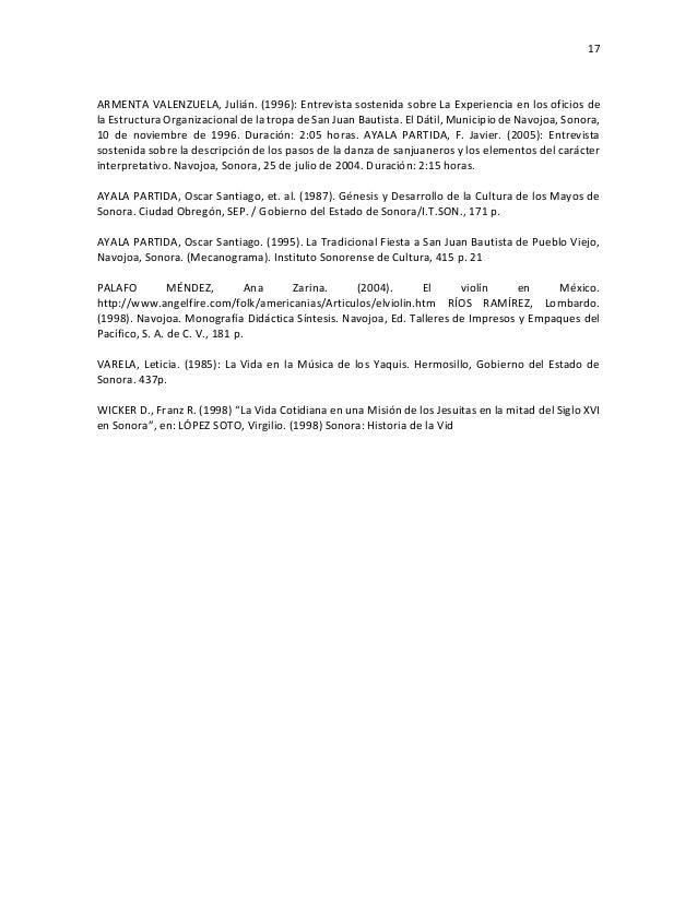 17 ARMENTA VALENZUELA, Julián. (1996): Entrevista sostenida sobre La Experiencia en los oficios de la Estructura Organizac...
