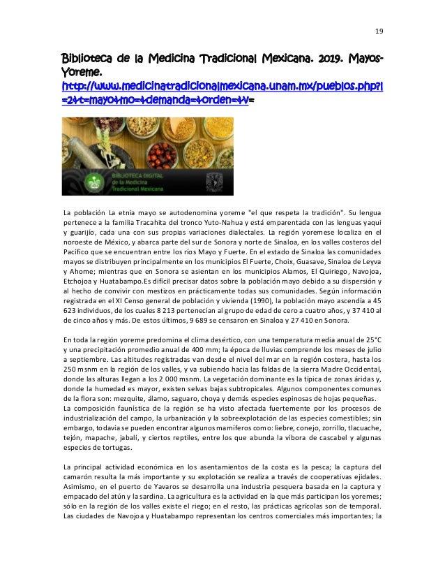 19 Biblioteca de la Medicina Tradicional Mexicana. 2019. Mayos- Yoreme. http://www.medicinatradicionalmexicana.unam.mx/pue...