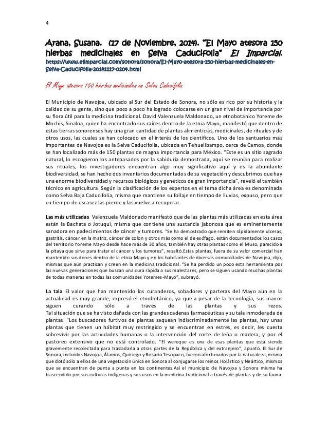 """4 Arana, Susana. (17 de Noviembre, 2014). """"El Mayo atesora 150 hierbas medicinales en Selva Caducifolia"""" El Imparcial. htt..."""