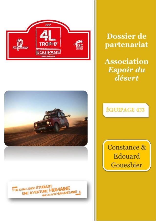 Dossier de partenariat Association Espoir du désert Constance & Edouard Gouesbier