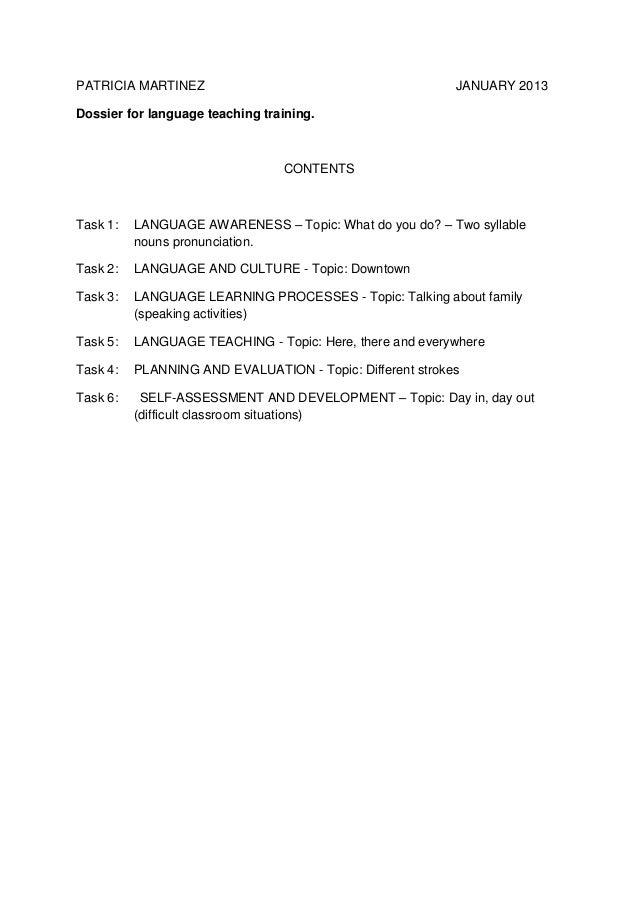 PATRICIA MARTINEZ                                          JANUARY 2013Dossier for language teaching training.            ...