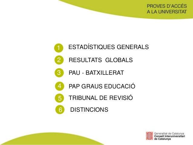 ESTADÍSTIQUES GENERALS RESULTATS GLOBALS PAU - BATXILLERAT DISTINCIONS 1 2 3 4 PAP GRAUS EDUCACIÓ TRIBUNAL DE REVISIÓ5 6