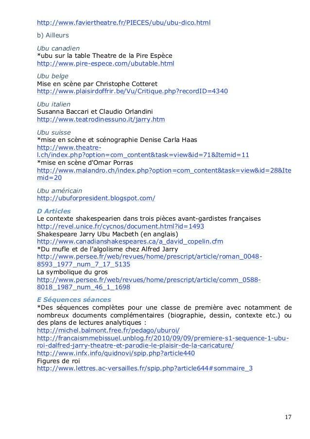 http://www.faviertheatre.fr/PIECES/ubu/ubu-dico.htmlb) AilleursUbu canadien*ubu sur la table Theatre de la Pire Espècehttp...