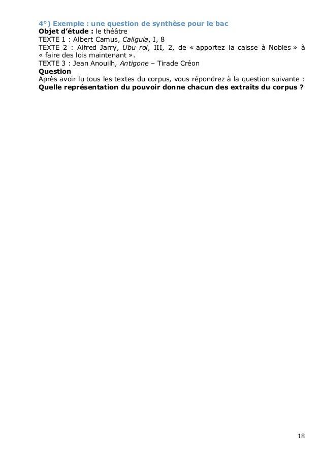 4°) Exemple : une question de synthèse pour le bacObjet d'étude : le théâtreTEXTE 1 : Albert Camus, Caligula, I, 8TEXTE 2 ...