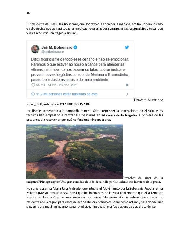 16 El presidente de Brasil, Jair Bolsonaro, que sobrevoló la zona por la mañana, emitió un comunicado en el que dice que t...