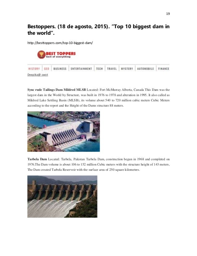 """19 Bestoppers. (18 de agosto, 2015). """"Top 10 biggest dam in the world"""". http://besttoppers.com/top-10-biggest-dam/ Deepika..."""