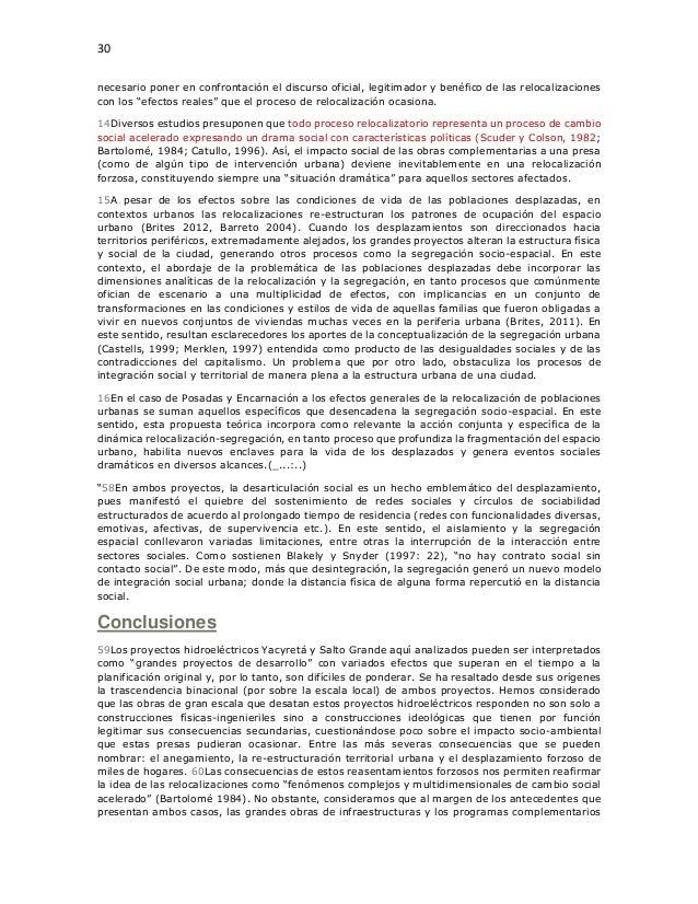 """30 necesario poner en confrontación el discurso oficial, legitimador y benéfico de las relocalizaciones con los """"efectos r..."""