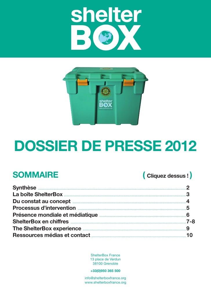 DOSSIER DE PRESSE 2012SOMMAIRE                                                                                            ...
