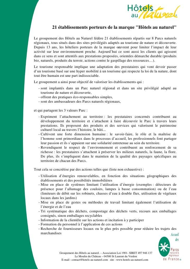 """21 établissements porteurs de la marque """"Hôtels au naturel""""Le groupement des Hôtels au Naturel fédère 21 établissements ré..."""