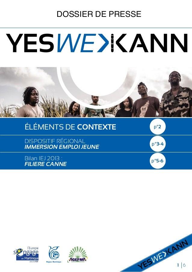 1 6 DOSSIER DE PRESSE ÉLÉMENTS DE CONTEXTE DISPOSITIF RÉGIONAL IMMERSION EMPLOI JEUNE Bilan IEJ 2013 : FILIERE CANNE p°2 p...