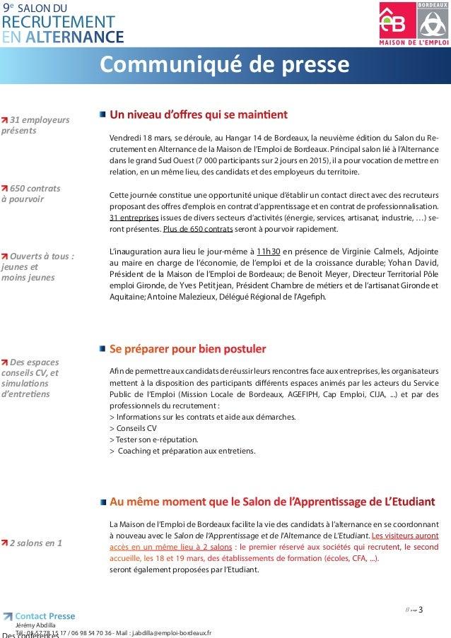 Dossier presse salon recrutement alternance bordeaux 2016 Slide 3