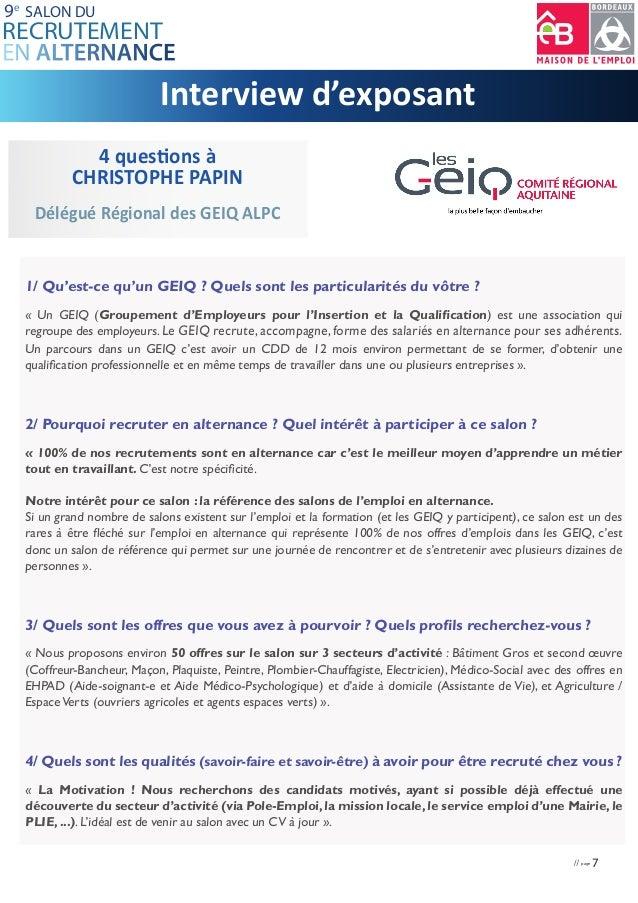 Dossier presse salon recrutement alternance bordeaux 2016 - Salon emploi bordeaux ...