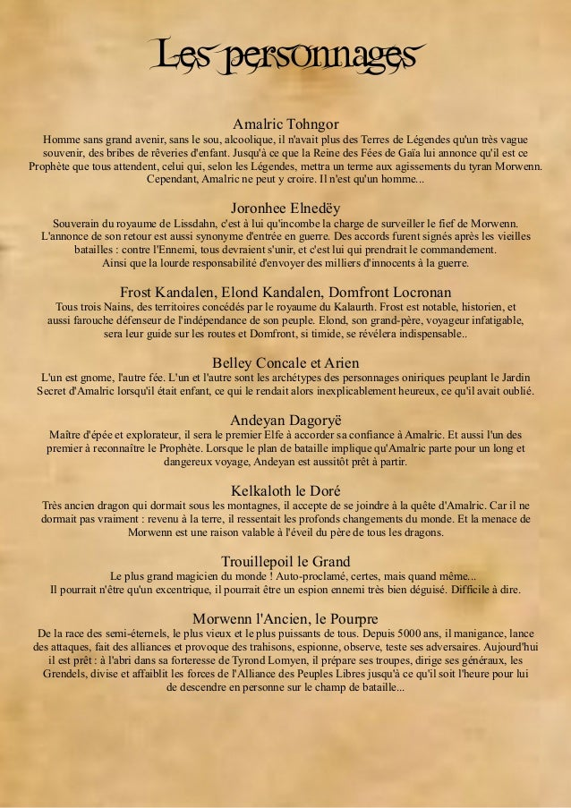 Gratuit : le guide du roman Les Terres de Légendes Slide 3