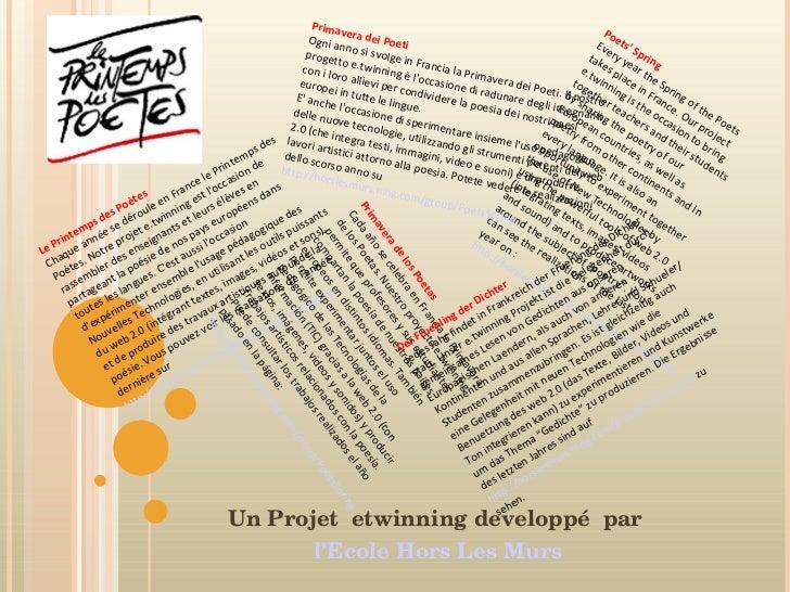 Le Printemps des Poètes Chaque année se déroule en France le Printemps des Poètes. Notre projet e.twinning est l'occasion ...