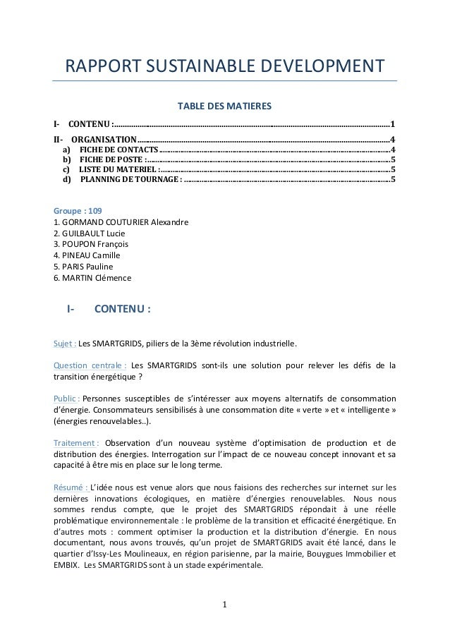 RAPPORT  SUSTAINABLE  DEVELOPMENT  TABLE  DES  MATIERES  I-­‐  CONTENU  :  ..................................................