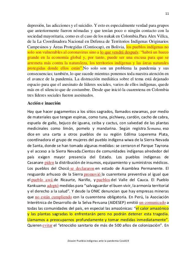 11 Dossier Pueblos indígenas ante la pandemia Covid19 depresión, las adicciones y el suicidio. Y esto es especialmente ver...