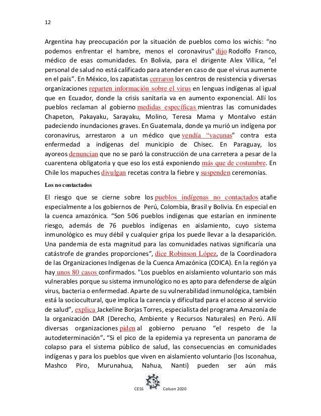 """12 CESS Colson 2020 Argentina hay preocupación por la situación de pueblos como los wichis: """"no podemos enfrentar el hambr..."""