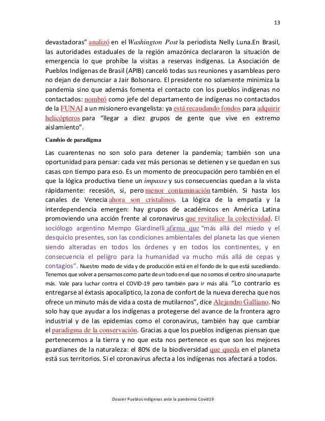 """13 Dossier Pueblos indígenas ante la pandemia Covid19 devastadoras"""" analizó en el Washington Post la periodista Nelly Luna..."""