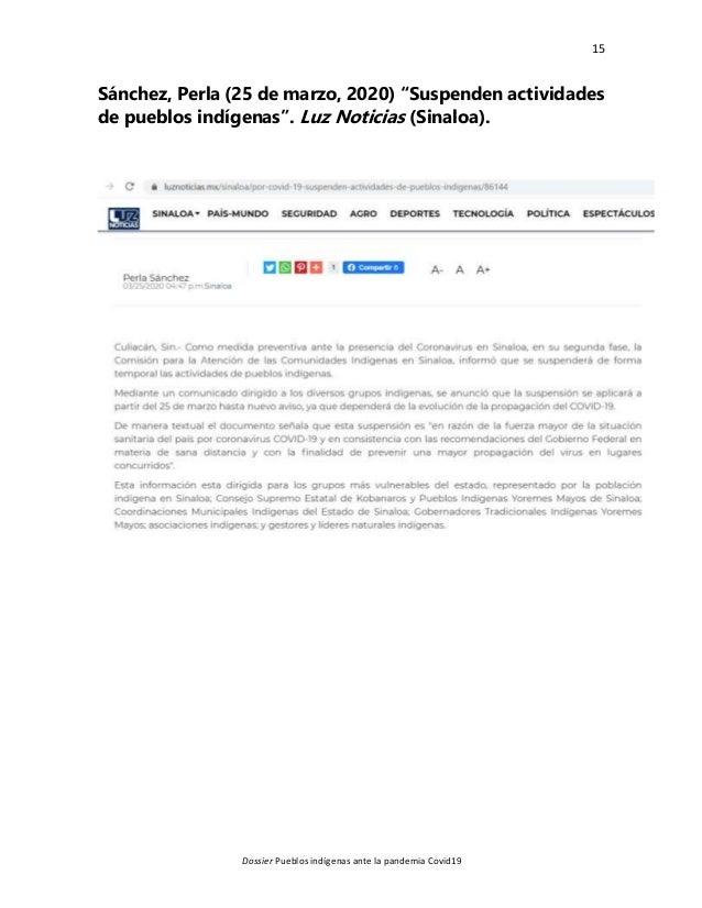 """15 Dossier Pueblos indígenas ante la pandemia Covid19 Sánchez, Perla (25 de marzo, 2020) """"Suspenden actividades de pueblos..."""