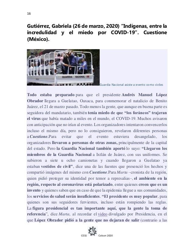 """16 CESS Colson 2020 Gutiérrez, Gabriela (26 de marzo, 2020) """"Indígenas, entre la incredulidad y el miedo por COVID-19"""". Cu..."""