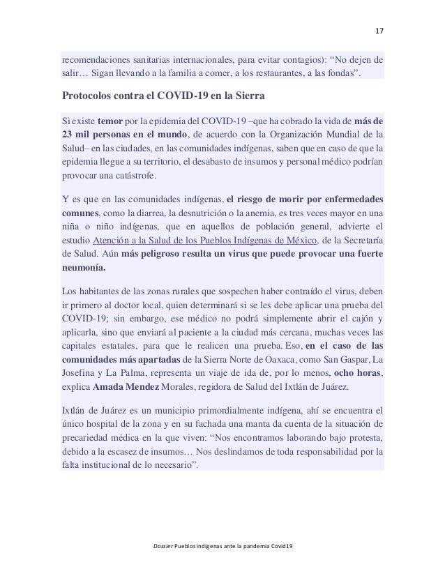 17 Dossier Pueblos indígenas ante la pandemia Covid19 recomendaciones sanitarias internacionales, para evitar contagios): ...