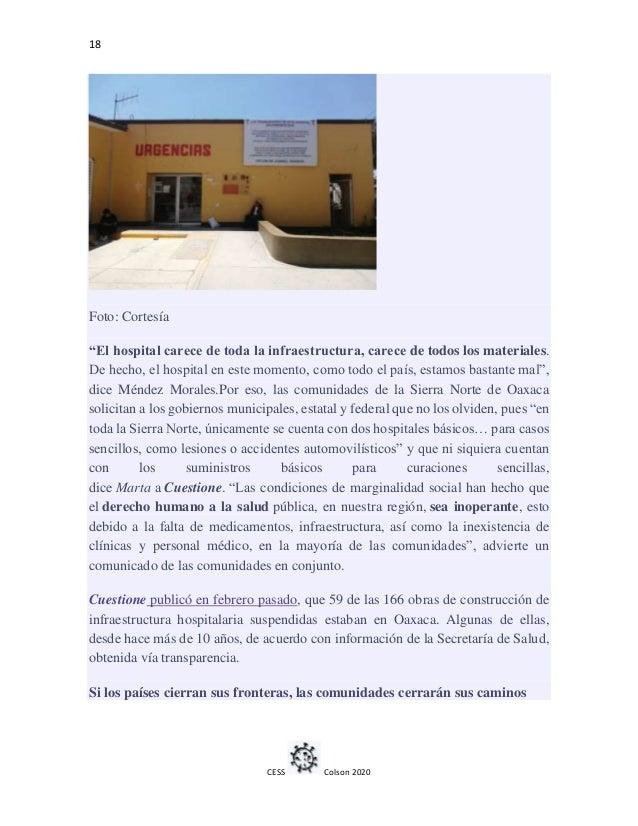 """18 CESS Colson 2020 Foto: Cortesía """"El hospital carece de toda la infraestructura, carece de todos los materiales. De hech..."""