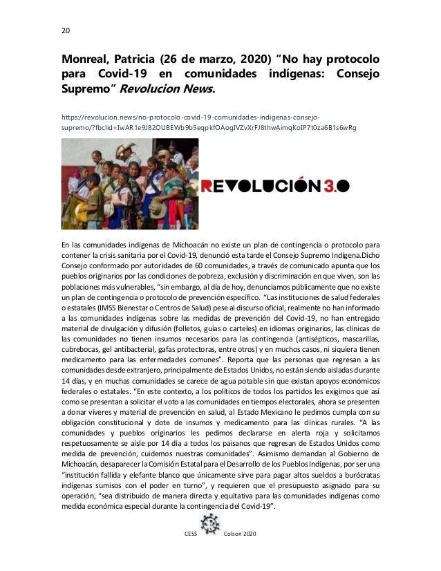 """20 CESS Colson 2020 Monreal, Patricia (26 de marzo, 2020) """"No hay protocolo para Covid-19 en comunidades indígenas: Consej..."""