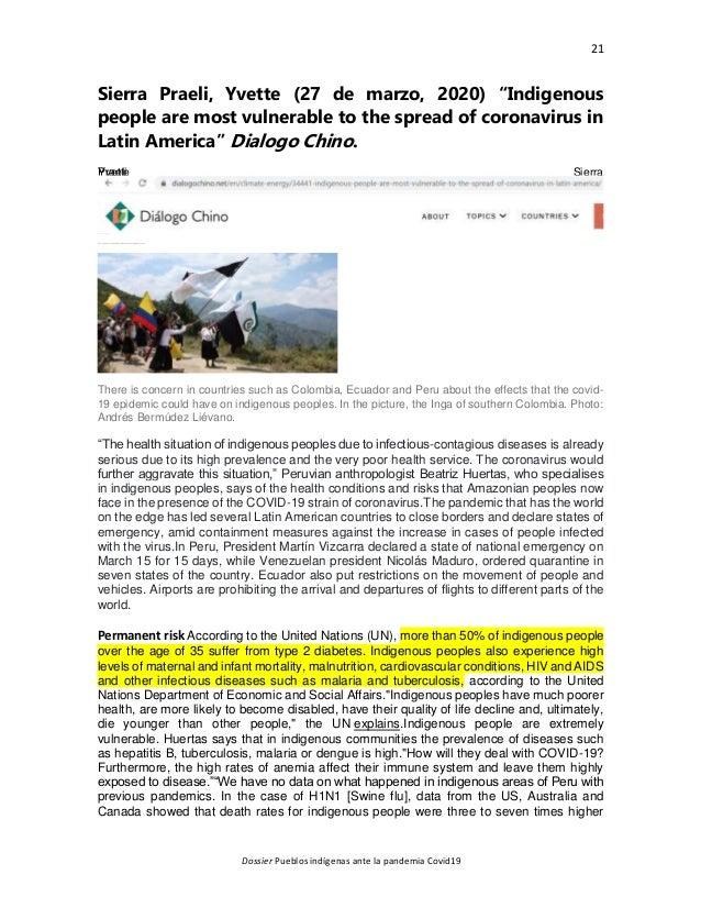 """21 Dossier Pueblos indígenas ante la pandemia Covid19 Sierra Praeli, Yvette (27 de marzo, 2020) """"Indigenous people are mos..."""