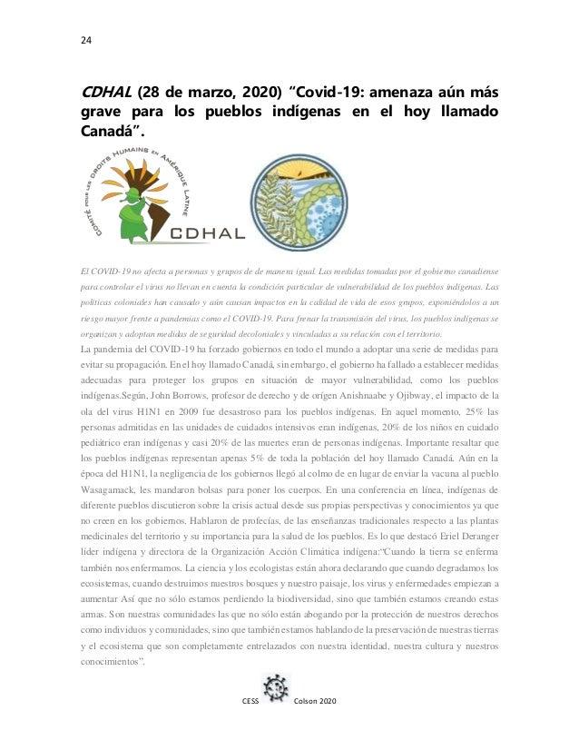 """24 CESS Colson 2020 CDHAL (28 de marzo, 2020) """"Covid-19: amenaza aún más grave para los pueblos indígenas en el hoy llamad..."""