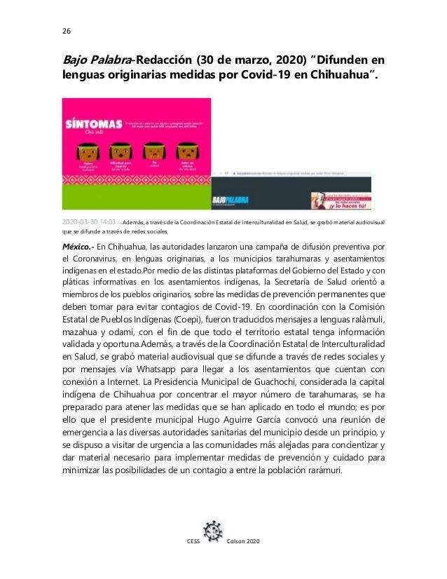 """26 CESS Colson 2020 Bajo Palabra-Redacción (30 de marzo, 2020) """"Difunden en lenguas originarias medidas por Covid-19 en Ch..."""