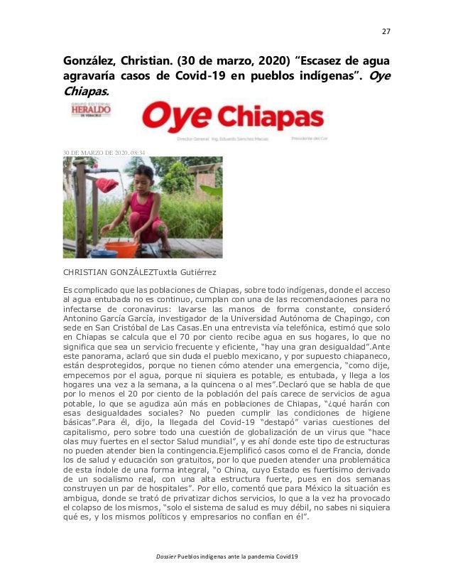 """27 Dossier Pueblos indígenas ante la pandemia Covid19 González, Christian. (30 de marzo, 2020) """"Escasez de agua agravaría ..."""