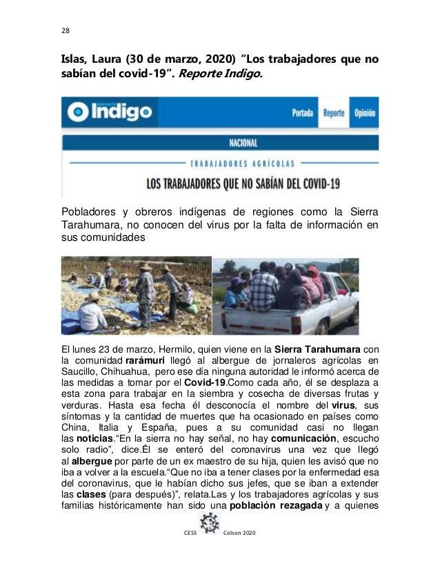 """28 CESS Colson 2020 Islas, Laura (30 de marzo, 2020) """"Los trabajadores que no sabían del covid-19"""". Reporte Indigo. Poblad..."""