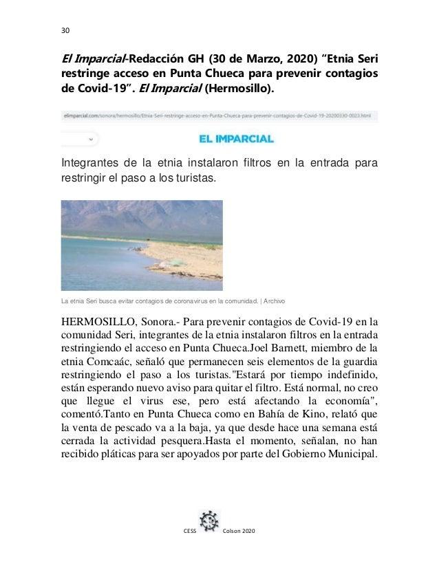 """30 CESS Colson 2020 El Imparcial-Redacción GH (30 de Marzo, 2020) """"Etnia Seri restringe acceso en Punta Chueca para preven..."""