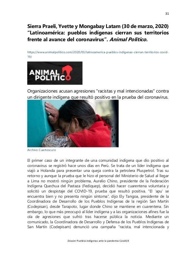 """31 Dossier Pueblos indígenas ante la pandemia Covid19 Sierra Praeli, Yvette y Mongabay Latam (30 de marzo, 2020) """"Latinoam..."""