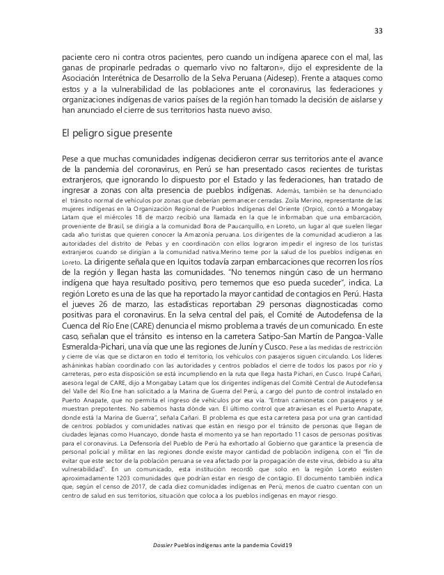 33 Dossier Pueblos indígenas ante la pandemia Covid19 paciente cero ni contra otros pacientes, pero cuando un indígena apa...