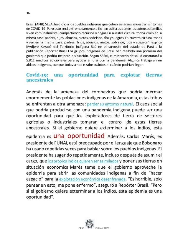 36 CESS Colson 2020 Brasil (APIB).SESAI ha dicho a los pueblos indígenas que deben aislarse si muestran síntomas de COVID-...