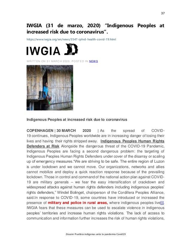 """37 Dossier Pueblos indígenas ante la pandemia Covid19 IWGIA (31 de marzo, 2020) """"Indigenous Peoples at increased risk due ..."""