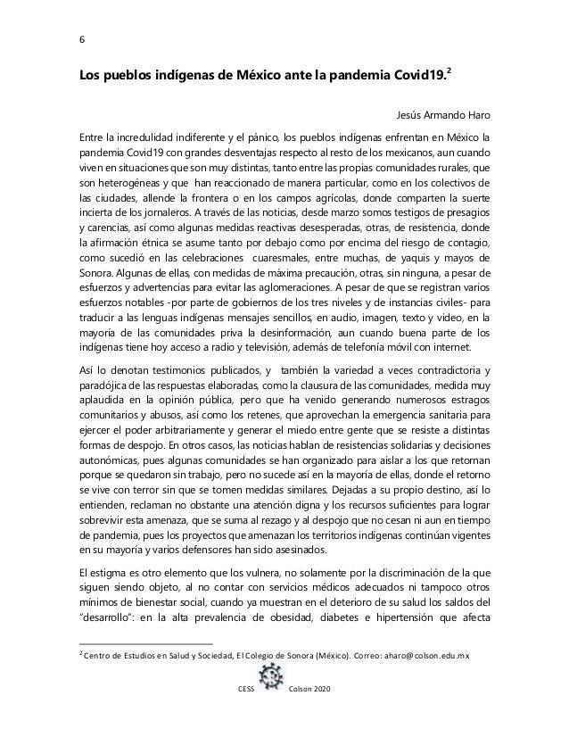 6 CESS Colson 2020 Los pueblos indígenas de México ante la pandemia Covid19.2 Jesús Armando Haro Entre la incredulidad ind...