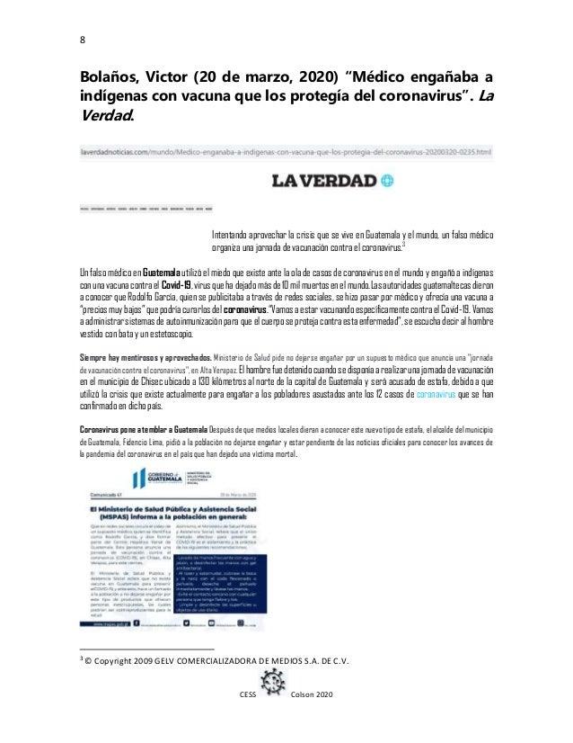 """8 CESS Colson 2020 Bolaños, Victor (20 de marzo, 2020) """"Médico engañaba a indígenas con vacuna que los protegía del corona..."""