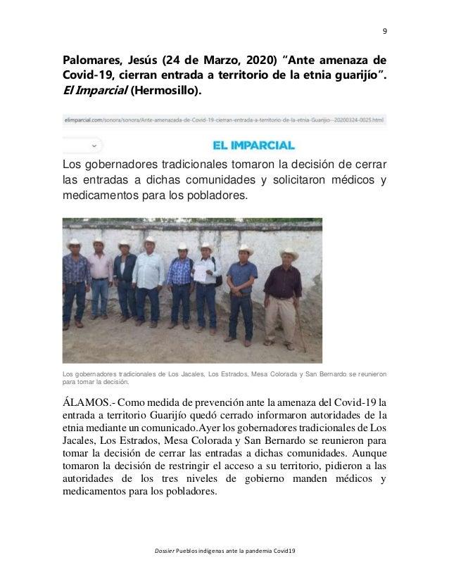 """9 Dossier Pueblos indígenas ante la pandemia Covid19 Palomares, Jesús (24 de Marzo, 2020) """"Ante amenaza de Covid-19, cierr..."""