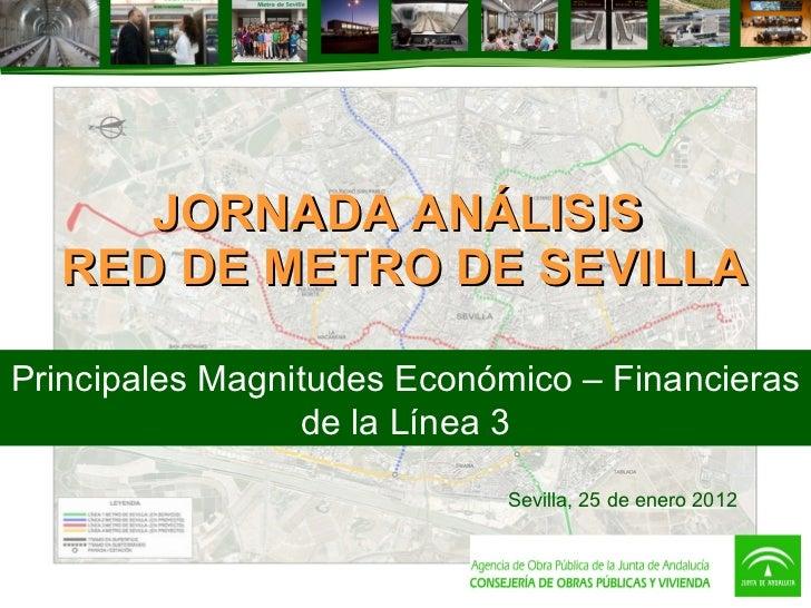 JORNADA ANÁLISIS  RED DE METRO DE SEVILLA Principales Magnitudes Económico – Financieras de la Línea 3 Sevilla, 25 de ener...