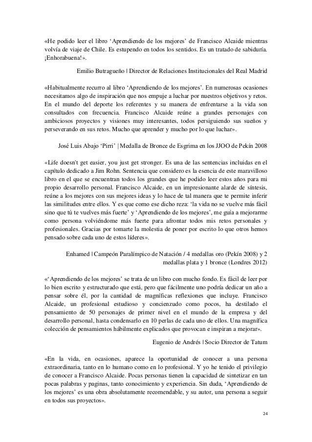 Dossier De Prensa Libro Aprendiendo De Los Mejores