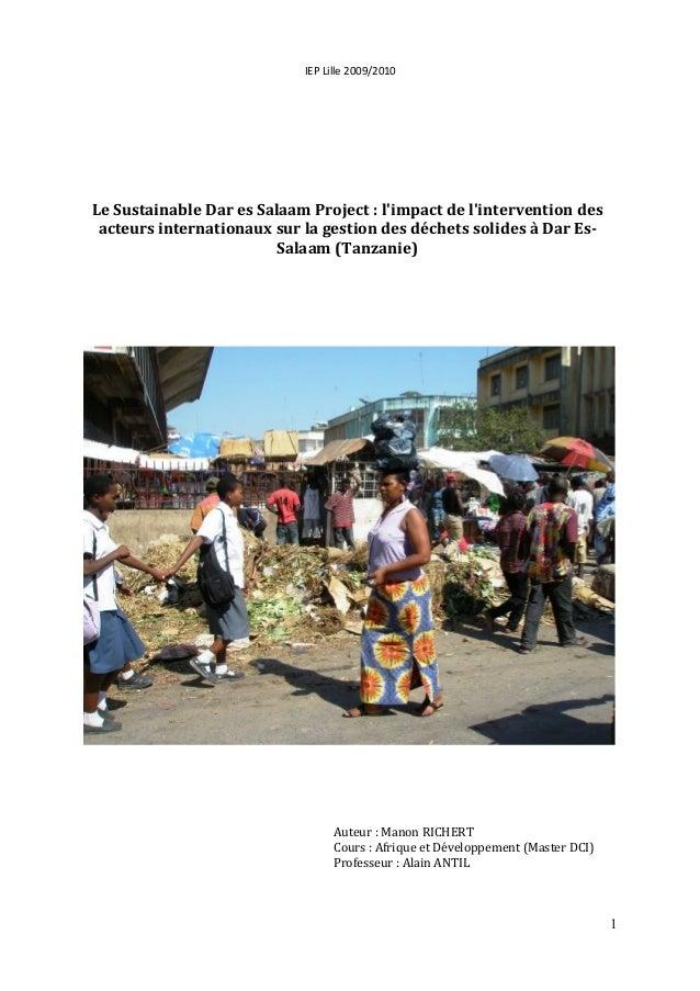 IEP Lille 2009/2010  Auteur : Manon RICHERT  Cours : Afrique et Développement (Master DCI)  Professeur : Alain ANTIL  1  L...