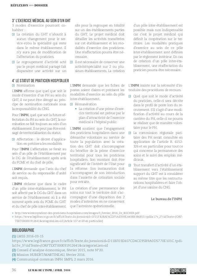 Le MAG de l'INPH / avril 201636 Bibliographie (1) LMSS 2016-03-15 https://www.legifrance.gouv.fr/affichTexte.do;jsessionid...