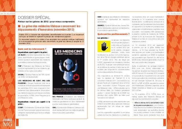 ACTUALITÉS  ACTUALITÉS  JEUNE  MG  8 9  N°6 Avril 2013  DOSSIER SPÉCIAL  Retour sur les grèves de 2012 : pour mieux compre...
