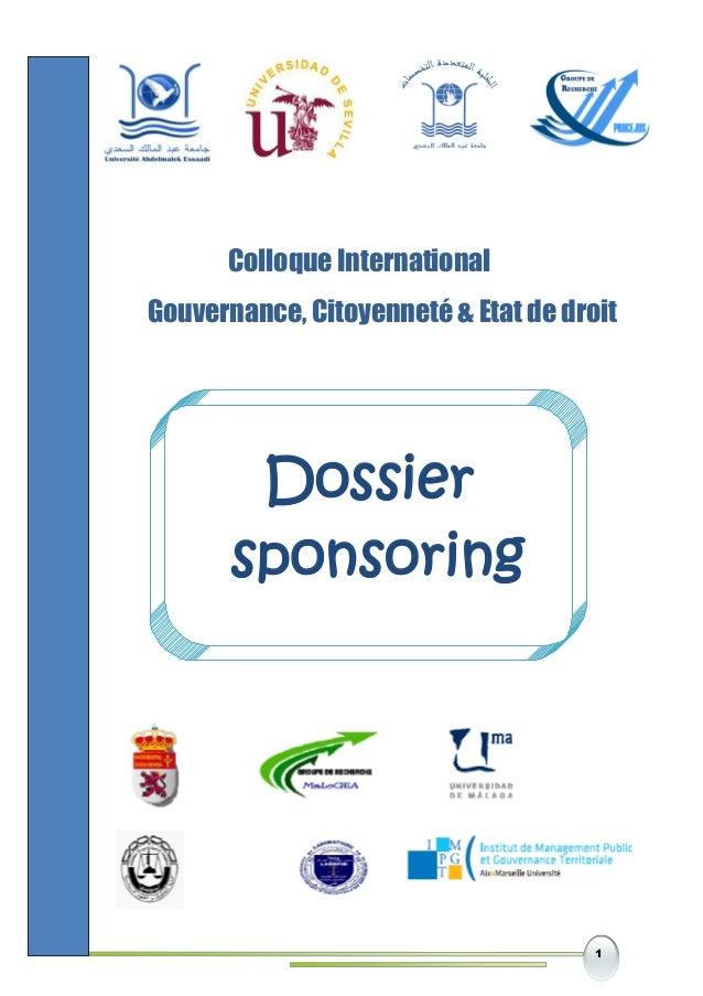 1 Colloque International Gouvernance, Citoyenneté & Etat de droit Dossier sponsoring